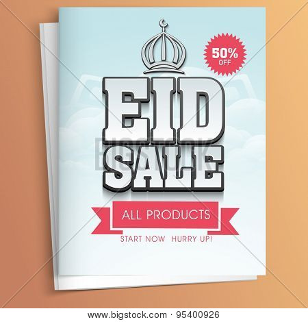 Stylish Eid sale flyer, banner or template with discount offer on all products.