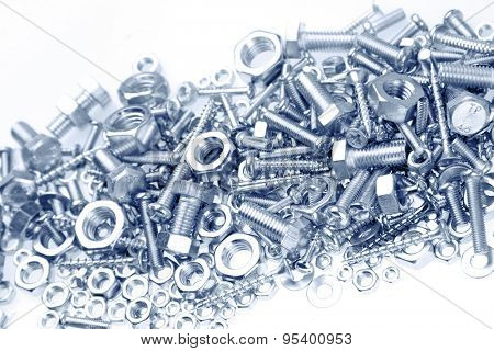 Assorted nuts and bolts closeup