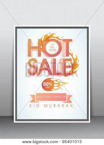 Stylish hot sale poster, banner, template or flyer with discount offer for muslim community festival, Eid celebration.