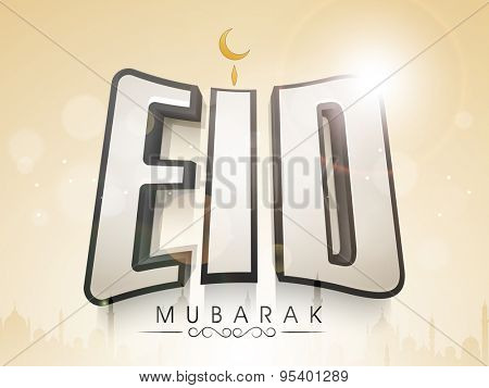 Elegant greeting card design with stylish text Eid Mubarak on mosque silhouetted shiny background for holy Islamic famous festival, Eid celebration.
