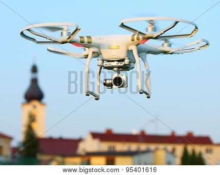 PILSEN CZECH REPUBLIC - JULY 4, 2015: Drone quadrocopter Dji Phantom 3 Professional with high resolution digital camera. New tool for aerial photo and video.