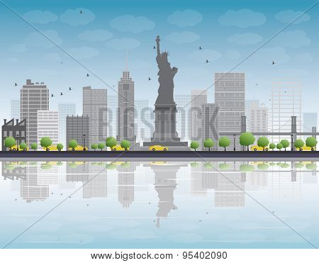 New York city skyline with grey building and blue sky