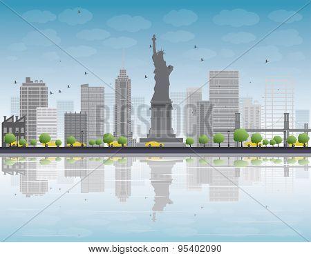 New York city skyline with grey building and blue sky