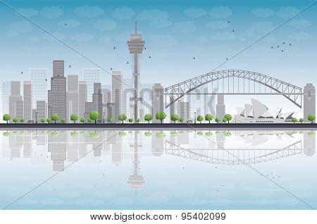 Sydney City skyline with blue sky and skyscrapers