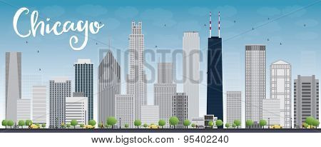 Chicago city skyline with grey skyscrapers and blue sky