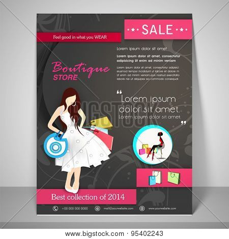 Creative Boutique Store template, banner or flyer design with illustration of a young modern girl.