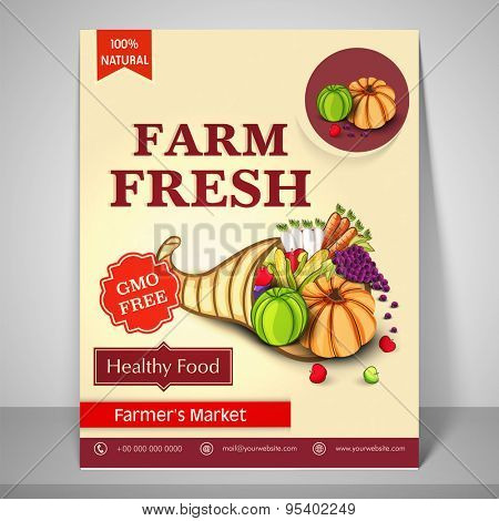 Farm Fresh template, banner or flyer presentation with illustration of fresh vegetables for healthy life.