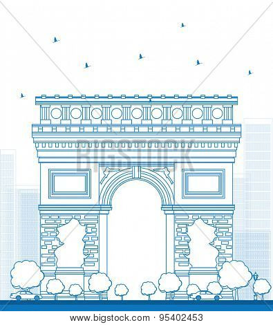 Outline Arch of Triumph. France Paris