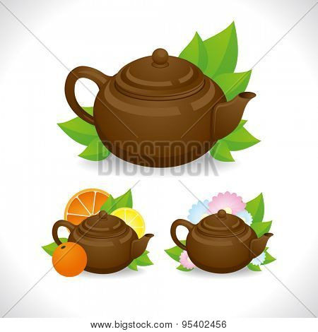 Flower, green and citrus tea with brown teapot. Vector illustration for your design