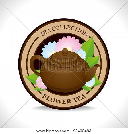 Flower tea label with brown teapot