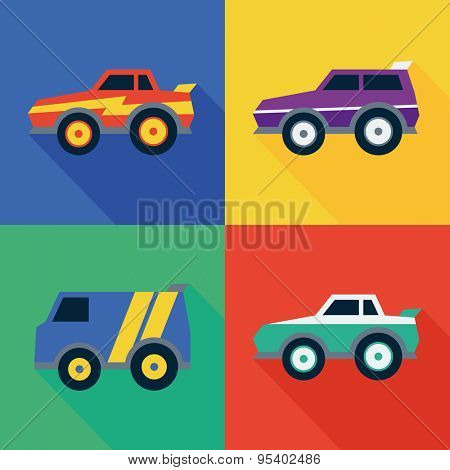 Icons of street racing cars. Flat design style. Vector illustration