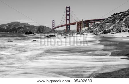 Golden Gate Bridge over beach in San Francisco