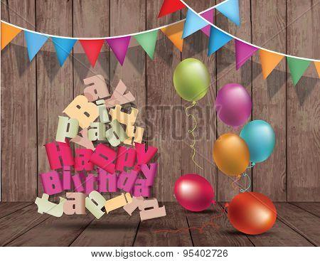 Happy birthday design template on wooden texture. Broken text