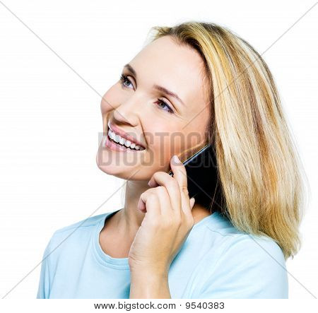 Happy Woman Speaking By Phone