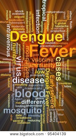 Background concept wordcloud illustration of dengue fever glowing light