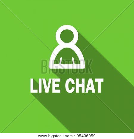 live chat flat icon  original modern design green flat icon for web and mobile app with long shadow