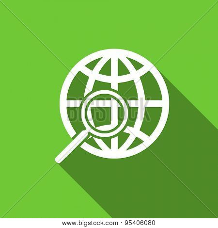 search flat icon  original modern design green flat icon for web and mobile app with long shadow