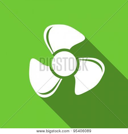 fan flat icon  original modern design green flat icon for web and mobile app with long shadow
