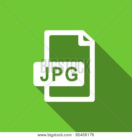 jpg file flat icon  original modern design green flat icon for web and mobile app with long shadow