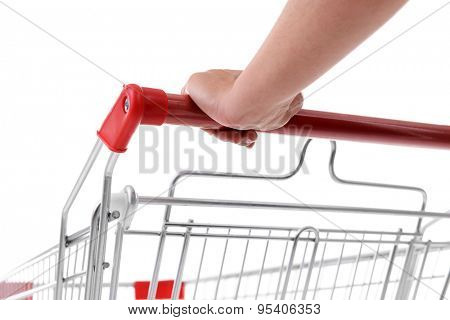 Young woman with shopping cart close up