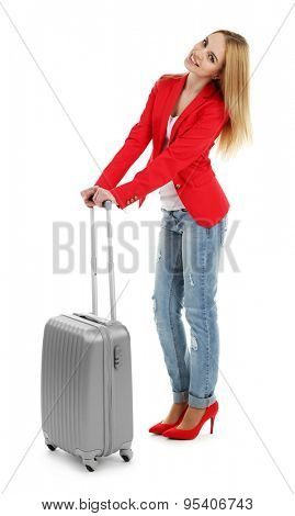 Woman holding suitcase, isolated on white