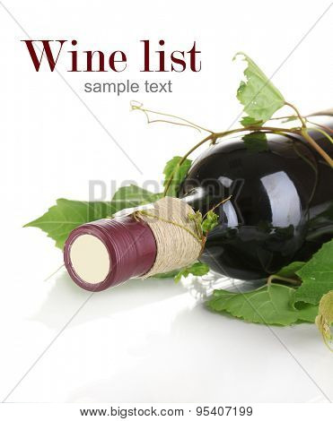 Red wine bottle isolated on white