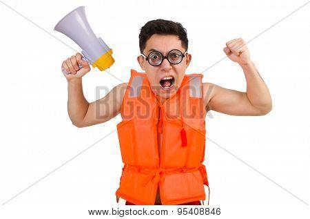 Funny man wearing vest with loudspeaker