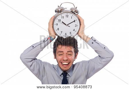 Young businessman with clock isolated on white