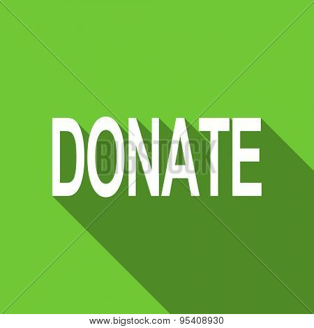 donate flat icon  original modern design green flat icon for web and mobile app with long shadow