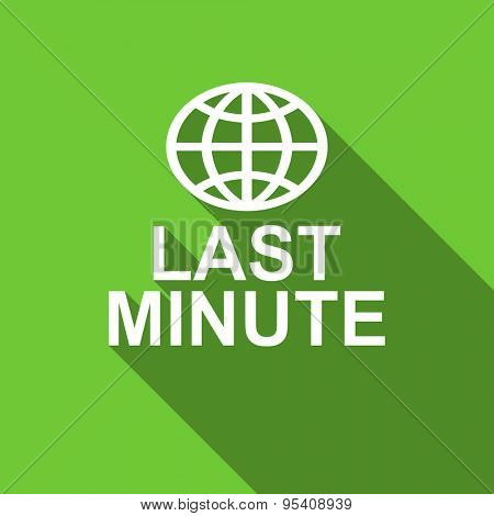 last minute flat icon  original modern design green flat icon for web and mobile app with long shadow