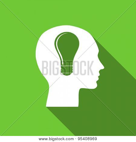 head flat icon human head sign original modern design green flat icon for web and mobile app with long shadow
