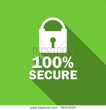 secure flat icon  original modern design green flat icon for web and mobile app with long shadow