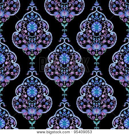 Watercolor boho paisley seamless background. Cold colors. Indian, persian or turkish art. Vector pattern.