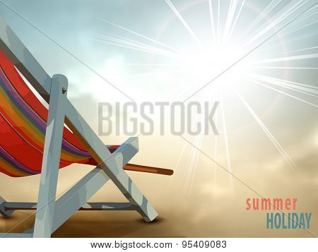 Tourism and travel concept - summer holiday background with deck chair and sunny sky in retro style