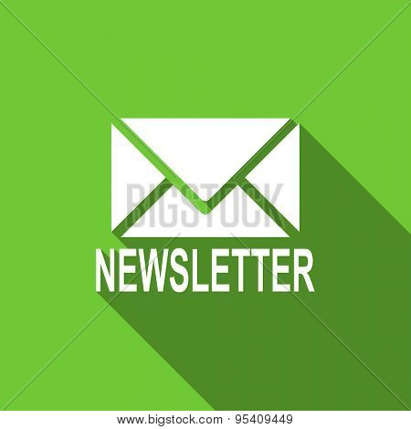 newsletter flat icon  original modern design green flat icon for web and mobile app with long shadow