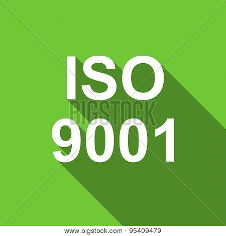iso 9001 flat icon  original modern design green flat icon for web and mobile app with long shadow