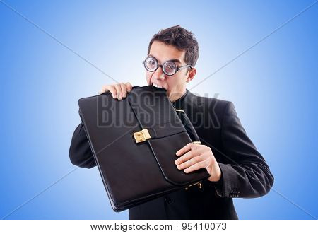 Nerd businessman against the gradient