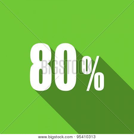 80 percent flat icon sale sign original modern design flat icon for web and mobile app with long shadow