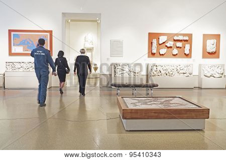 MOSCOW, RUSSIA  -  APRIL 08, 2015: Pushkin Museum - one of the largest and most significant Russian museums of European and world art. Exhibition hall with ancient Greek artifacts
