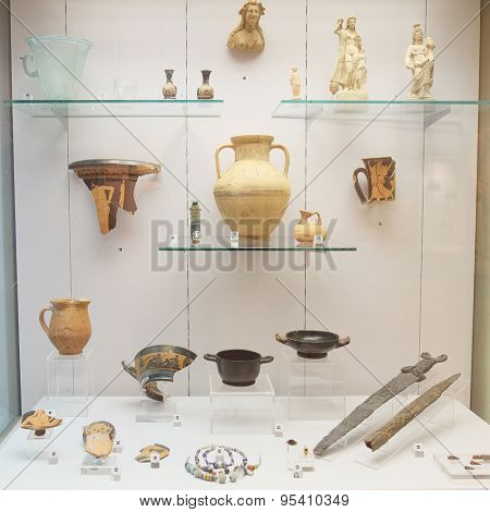 MOSCOW, RUSSIA  -  APRIL 08, 2015: Pushkin Museum - one of the largest and most significant Russian museums of European art. Objects from the excavations Panticapaeum - capital Kimeriyskogo Bosporus.