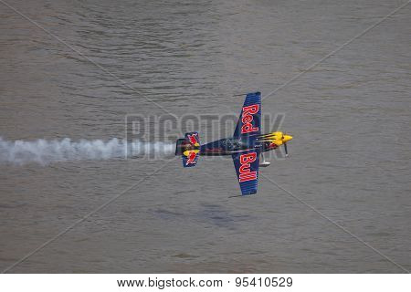 BUDAPEST, HUNGARY - MAY 1: Aerobatics as part of the May 1 celebration of 2014 performed by Peter Besenyei