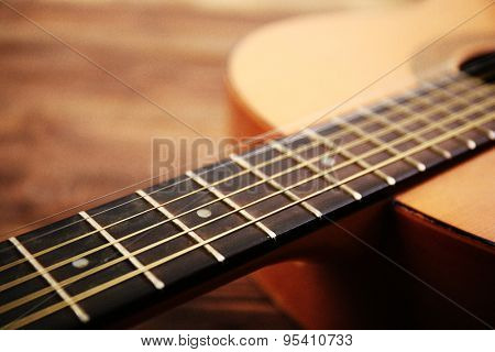 Acoustic guitar close up