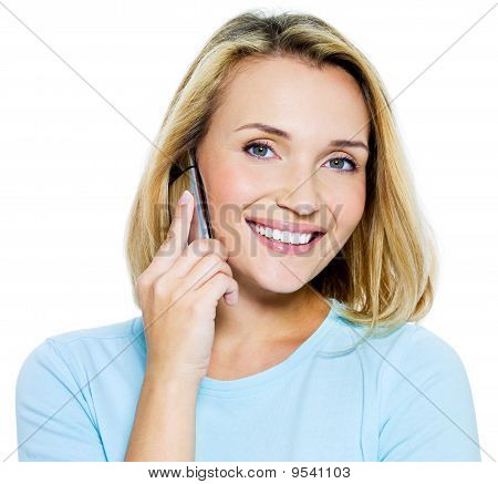 Happy Woman Speaks On The Phone