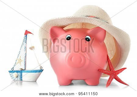 Piggy bank with hat and nautilus isolated on white