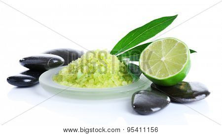 Spa still life in green color isolated on white