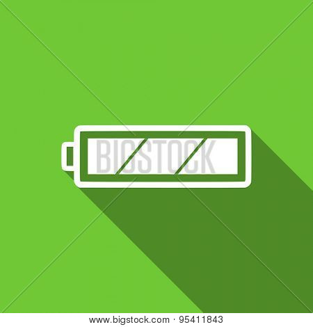 battery flat icon charging symbol power sign original modern design flat icon for web and mobile app with long shadow