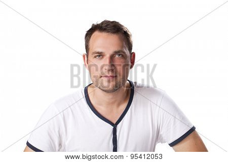 Young happy casual man portrait isolated on white background