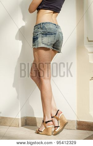 Female body part denim jeans shorts