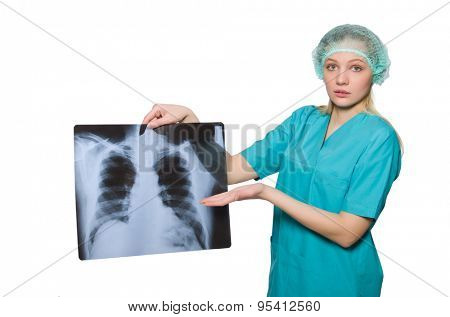 Woman  doctor examining x-ray image