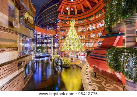 FUKUOKA, JAPAN - DECEMBER 6, 2012: Entrance to Canal City shops during the holiday season. It is the largest private development in the history of Japan at a size of 2.5-million sq. ft.